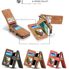 For iPhone 5 6 6S 7P Magnetic PU Leather Cover Wallet Zipper Case Purse Handbag