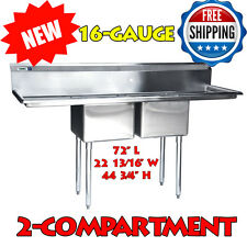 """72"""" 16-Gauge Stainless Steel Two Compartment Commercial Sink with 2 Drainboards"""