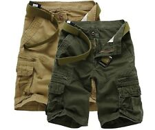 Mens Casual Relaxed Slim Fit Cotton  Cargo Shorts Short Pants