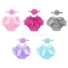 Infant Toddlers Baby Girls Cotton Tulle Ruffle Bloomer Diaper Cover Headband Set