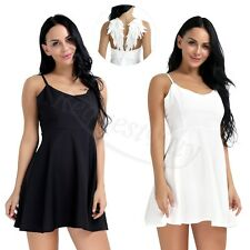 Women Plunge V-neck Angel Wings Backless Skater Lace Party Gallus Mini Dress