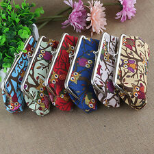 Cute Coin Purse Money Bag Case Wallet Keys Card Pouch Owl Branch Pattern Hasp US