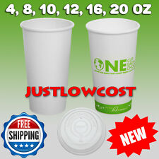 4,8,10,12,16,20oz Eco-Friendly Paper Hot Coffee Tea Holiday Chocolate Cup or Lid