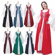 Vintage Women Hofadel Renaissance Medieval Gown Chemise Cosplay Costume Dress