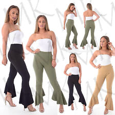 Women's Frill Flared Crepe Wide Leg High Waisted Trousers Ruffle Bottom Pant