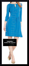 TAHARI NEW Pleat Keyhole Solid Blue 3/4-Sleeve Polyester Fit&Flare Mini Dress 16