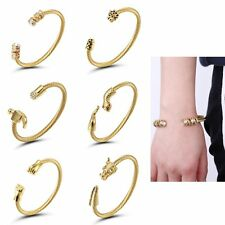 Men's Adjustable Stainless Steel Wire Snake Open Cuff Bangle Crystal Bracelet
