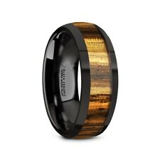 Thorsten ZERRA Black Ceramic Domed Wedding Band Ring Zebra Wood Inlay 8mm