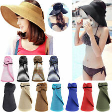 Women Packable Roll Up Wide Brim Sun Shade Visor Beach Straw Hat Gardening Cap