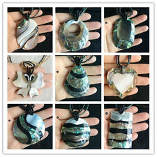 "15"" unique Jewelry Zealand Abalone Shell Pendant Beads Handmade Necklace Chain"