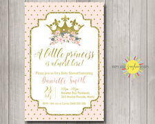 Custom Baby Shower Invitation Little Princess Pink & Gold Polkadots Floral Girl