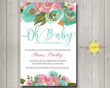 Custom Baby Shower Invitation Floral Pink, Blue, Mint & Gold Foil Faux Neutral