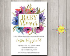 Custom Baby Shower Invitation Floral Pink, Blue, Purple & Gold Foil Faux Neutral