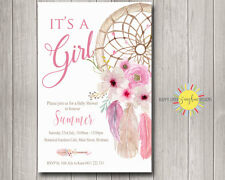Custom Baby Shower Invitation Girl Boho Floral Feathers Dream Catcher Pink
