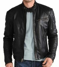 Mens Leather Jacket Black Slim Fit Biker Motorcycle Genuine Lambskin Coat