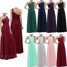 Elegant Women's Long Bridesmaid Dress Lady One Shoulder Cocktail Party Gown Ball