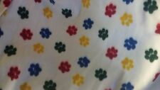 PET DOG CAT FLEECE BLANKET  Handcrafted 36x30 in medium white w/ multicolor paws
