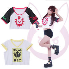Overwatch OW D.Va DVA Mercy Angela Short Sleeve T-shirt Cosplay Costume Shirt