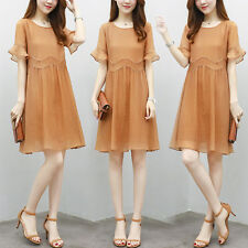 Korean Flounced Sleeve Fashion Women Summer Long Section Solid A-Line Doll Dress