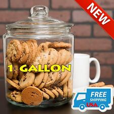 1 Gallon Coffee Bean Glass Cookie Candy Penny Storage Jar Container w/ Glass Lid