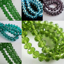 New 3 4 6 8mm Loose Charm Rondelle Faceted Glass Crystal Spacer Beads 10 Colors