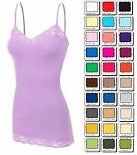 Bozzolo   TANK TOP LACE Trim Long LAYERING CAMI BASIC Camisole