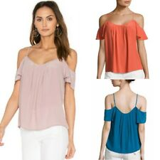 NWT Joie Adorlee Silk Cold-Shoulder Ruffle Top Tank Strap Flutter Sleeve Blouse