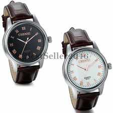 Fashion Mens Roman Numerals Dial Leather Band Casual Analog Quartz Wrist Watch