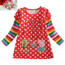 New cute long sleeve red shirt Peppa pig girl dress-top size 1-4y