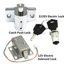 S1203 Electric Solenoid Lock Assembly DC 12V 0.6A/350mA Aluminum Catch Push Lock