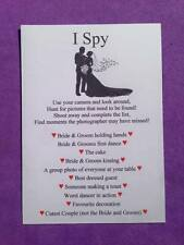 Pack of 12 Wedding I Spy Game Camera Game Table Favour Cards