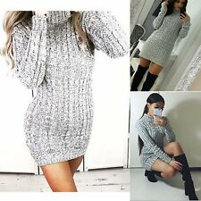 New Ladies Cowl Polo Neck Ribbed Knitted Cable Dress Jumper Long Sleeve Cardigan