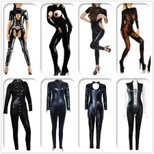 Sexy Women's Lingerie One-Piece Leotard Club Catsuit Wet Look Jumpsuit Bodysuit