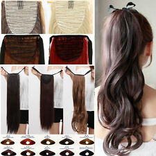 StylishThick Drawstring Ponytail Clip in Hair Extentions Straight Curly Long A99