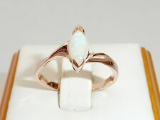 Ladies 18 Carat Rose Gold Sterling 925 Silver Marquise Cut Opal Solitaire Ring