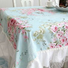 French Country Cottage Shabby Chic Floral Rose Blue Pink Table Cloth DF