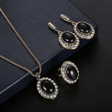 Women Rhinestone Faux Gem Charm Ring Necklace Earrings Style Jewelry Set Calm