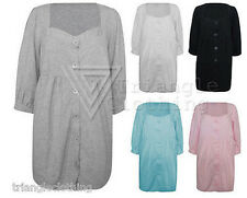 Cotton Smock Top 6 Button Front  Plus Size Casual Top Loose Maternity SALE