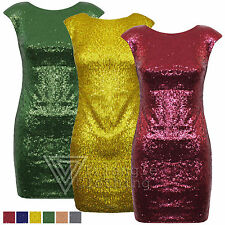 Ladies Womens Sequin Embellished Fitted Bodycon Dress Sleevless Shoulder Pad