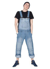 Mens - Relaxed Fit Dungarees - Light Wash Mens Womens Denim Dungarees Bib Overal