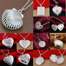 Women 925 Sterling Silver Locket Hollow Heart Book Photo Pendant Chain Necklace