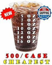 Clear Hard Plastic Disposable Cups Glasses Tumbler Party Soda Tea Party-500/Case