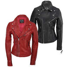 Ladies Women Black Red Soft Real Leather Biker Jacket Slim Fit Size UK 8 to 24