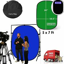 Green/Blue 5x7Ft Background Panel Popup Backdrop Reversible Collapsible Screen S