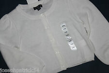 baby Gap NWT Girl's Ivory Cotton Cardigan Sweater w/ Clear Buttons
