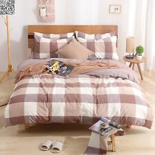 Doona/Quilt/Duver Cover Set Single/Queen/King Size Bed Pillowcases New Checked