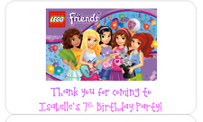 PERSONALISED STICKERS LABELS ADDRESS BIRTHDAY PARTY BAGS LEGO FRIENDS