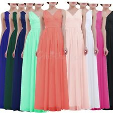 Lady Women Long Maxi Evening Formal V Neck Bridesmaid Party Cocktail Prom Gowns