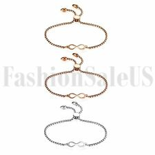 Women's Ladies Stainless Steel Charm Love Infinity Chain Promise Bracelet Bangle