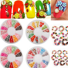 DIY Flower Fruit Nail Art Slices Polymer Clay Fimo Stickers 3D Decoration Wheel